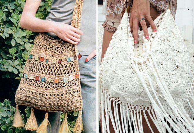 вязаная летняя сумка с бахромой