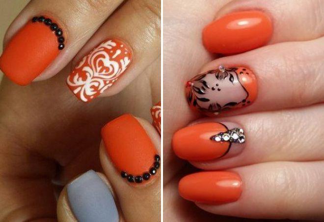 маникюр в оранжевых тонах