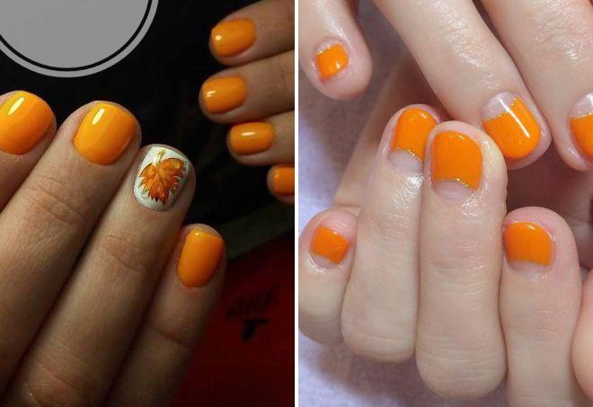 оранжевый маникюр на коротких ногтях 2018