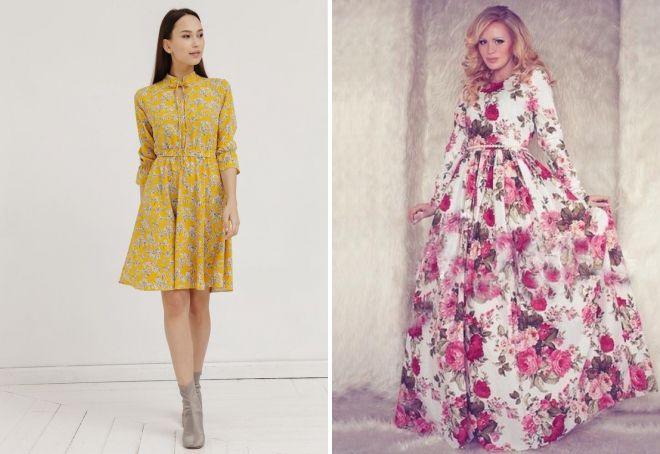 платья с цветочным принтом 2018
