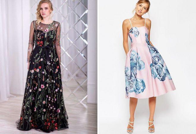 вечернее платье с цветочной вышивкой