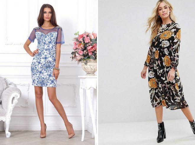 модные платья с цветочным принтом 2018