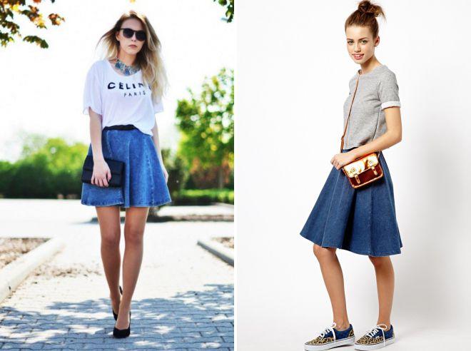 с чем носить джинсовую юбку солнце