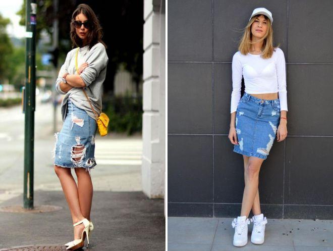 с чем носить рваную джинсовую юбку