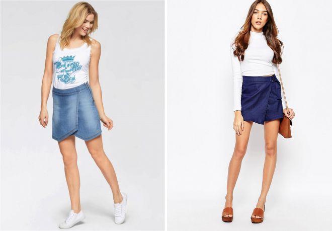 джинсовая юбка шорты с чем носить