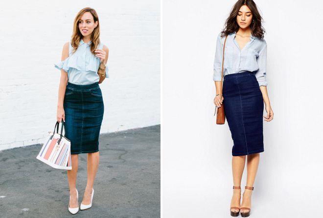 с чем носить узкую джинсовую юбку