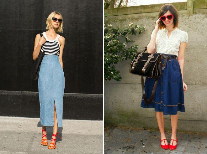 какую обувь носить с джинсовой юбкой