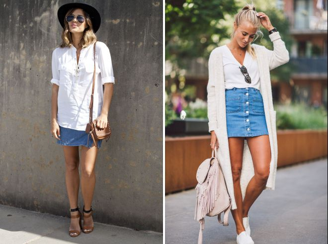 с чем носить джинсовую юбку летом