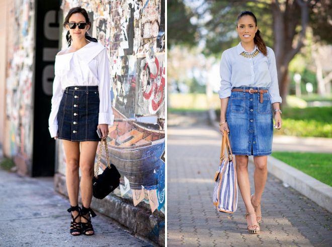 модные образы с джинсовой юбкой