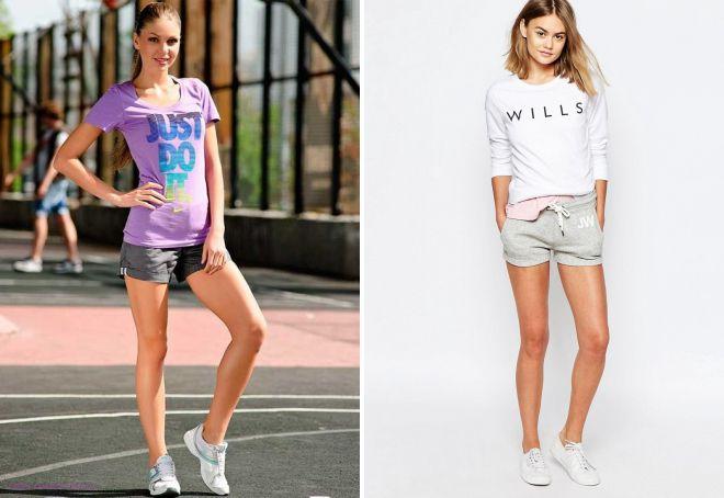 с чем носить короткие спортивные шорты