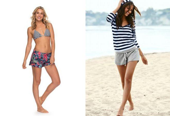 с чем носить короткие пляжные шорты