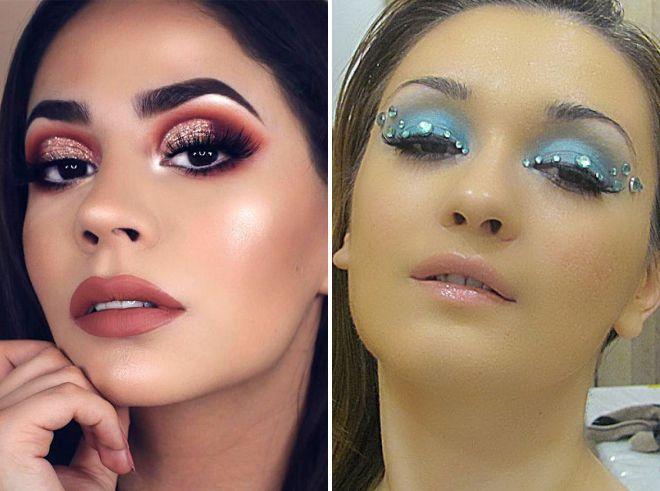 свадебный макияж 2018 с блестками