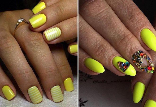 маникюр желтого цвета 2018