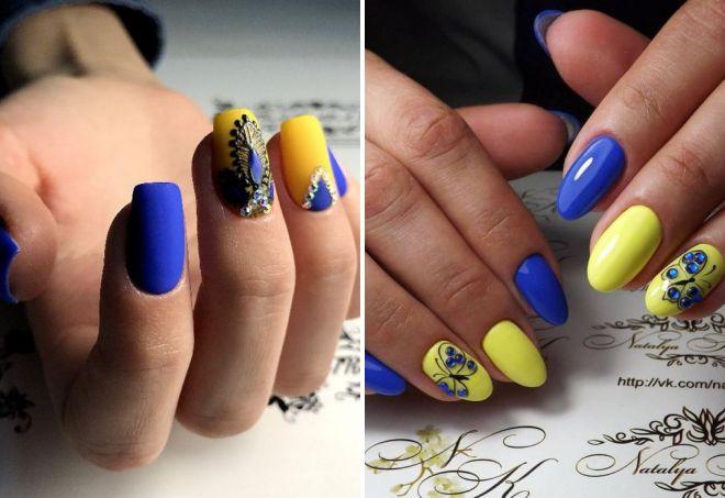 маникюр 2018 желтый с голубым