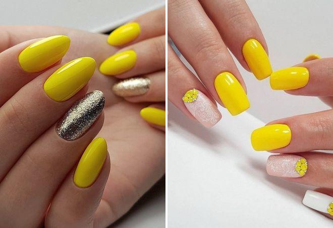 модный желтый маникюр 2018