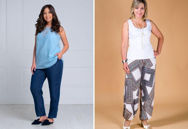 летние легкие брюки для полных женщин
