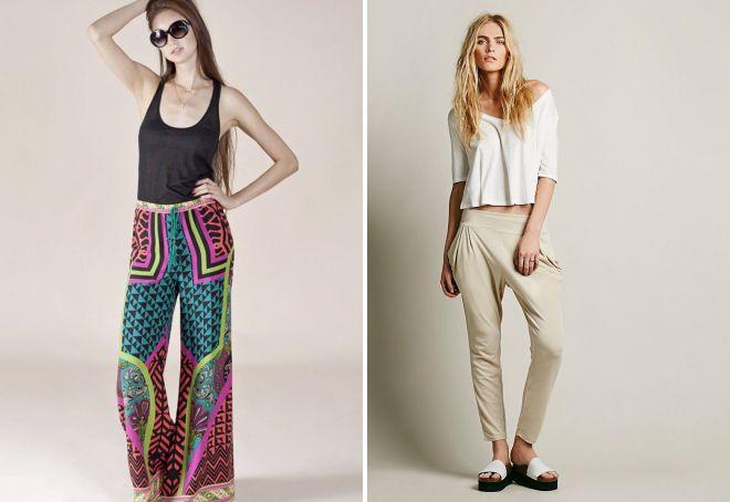 женские летние брюки из легкой ткани