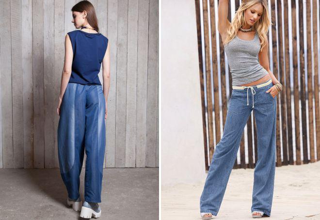 легкие джинсовые брюки