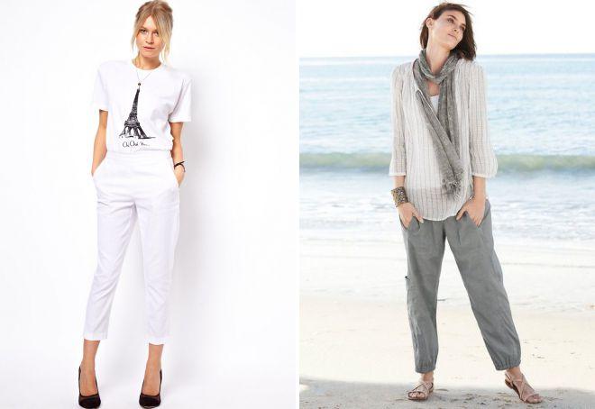 женские легкие льняные брюки