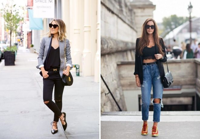 какую обувь носить под рваные джинсы
