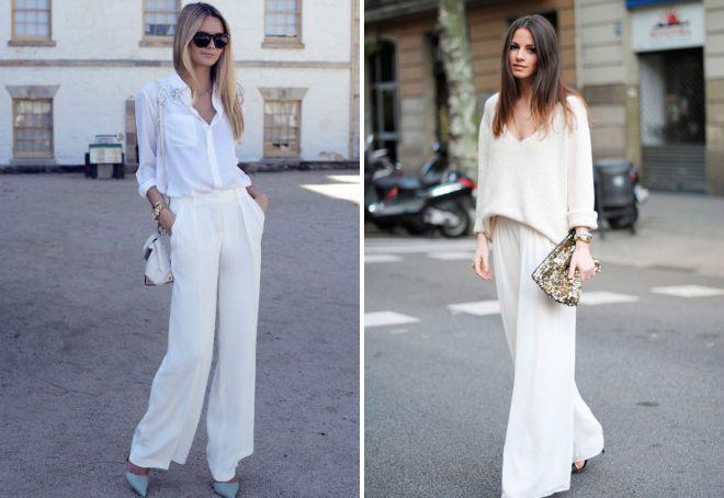 с чем носить белые широкие брюки