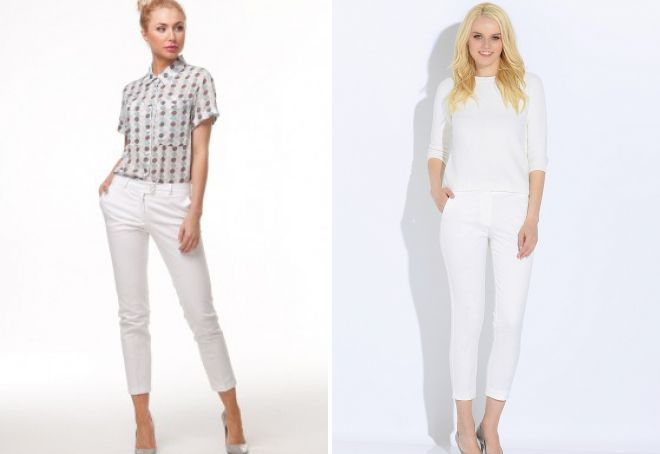 белые зауженные брюки