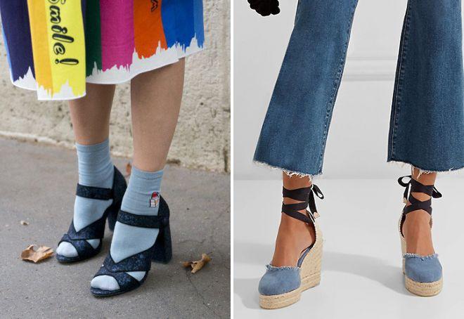 denim sandale sa čarapama