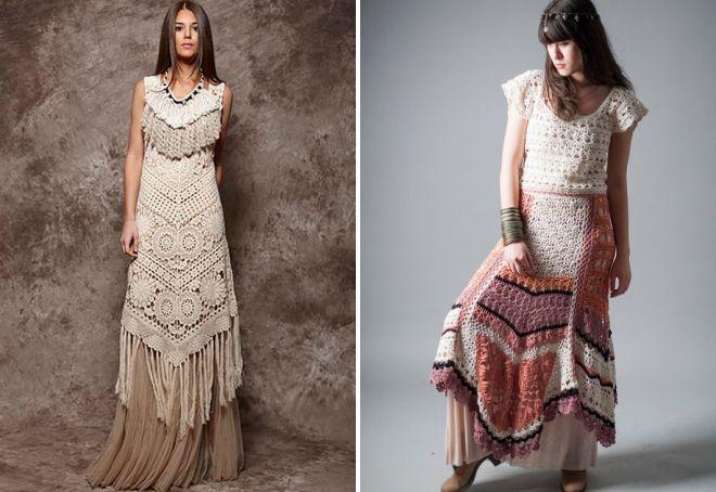 вязаные платья в стиле бохо