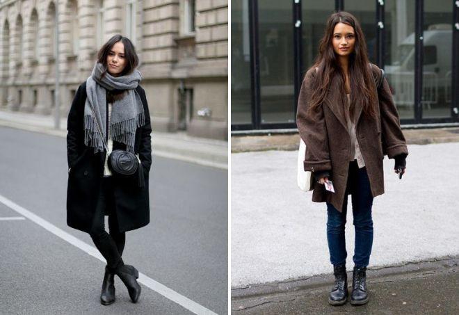 пальто оверсайз с ботинками