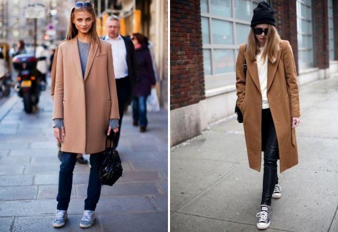 пальто оверсайз с кроссовками
