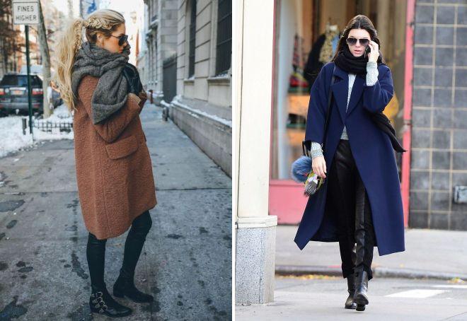 как носить пальто оверсайз с шарфом