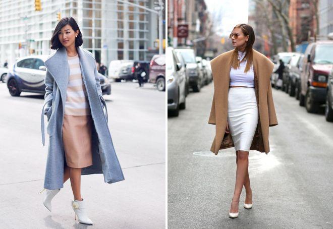 пальто оверсайз с юбкой