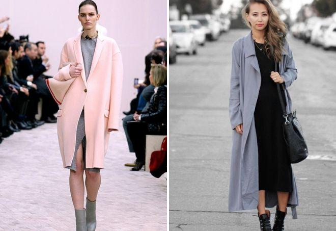 пальто оверсайз с платьем