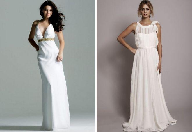 белое платье в пол в греческом стиле