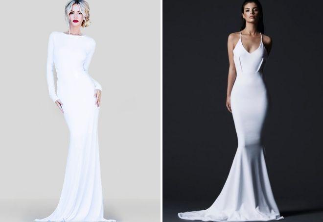 белое облегающее платье в пол