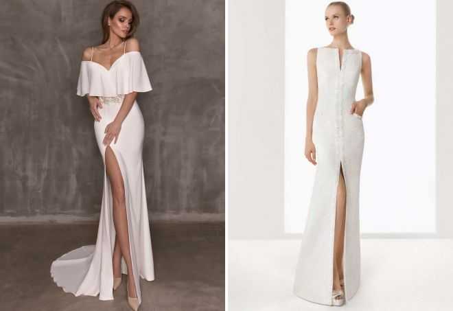 белое платье в пол с разрезом