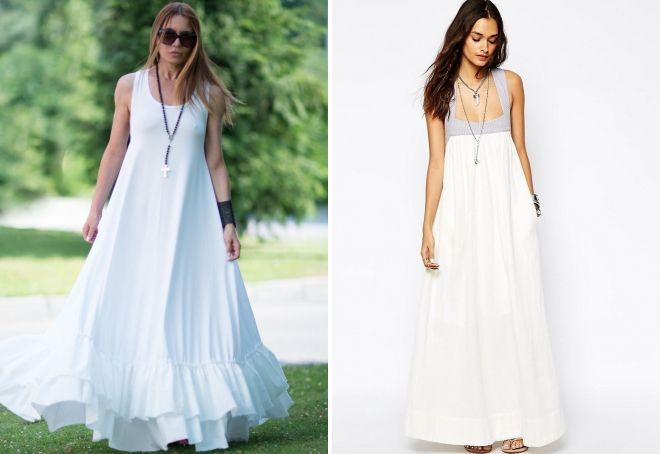Стильное белое платье в пол – трикотажное, шифоновое, сорочка, с ... 87213fbe97f