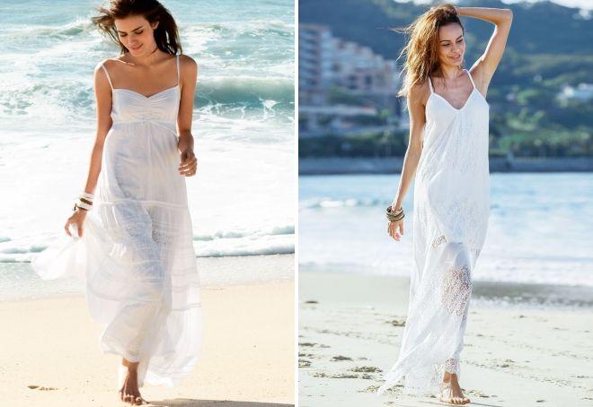 белое пляжное платье в пол