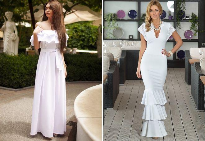 белое длинное платье в пол