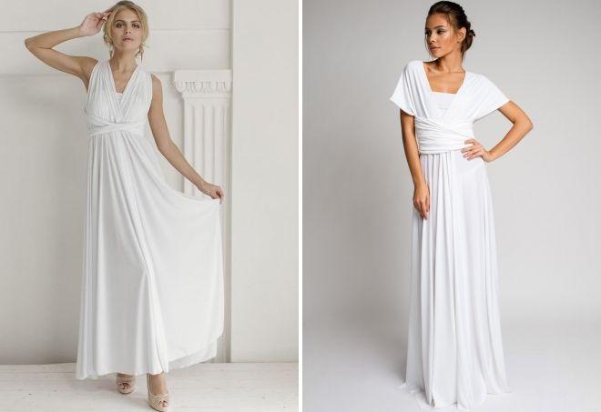 летнее белое платье в пол