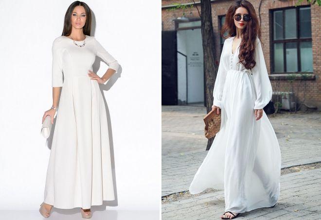 белое платье в пол с рукавами
