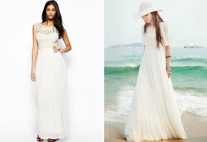 белое шифоновое платье в пол