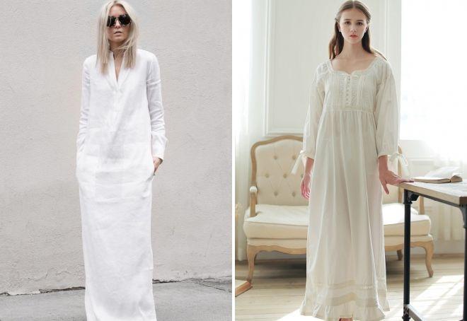 белое платье сорочка в пол