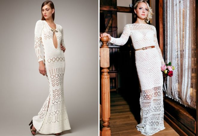 белое вязаное платье в пол