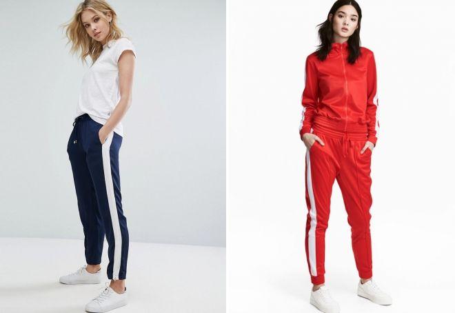 женские брюки джоггеры с лампасами