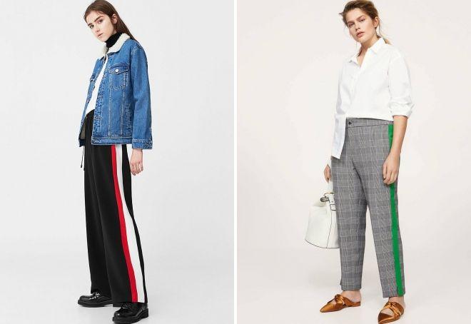 женские брендовые брюки с лампасами