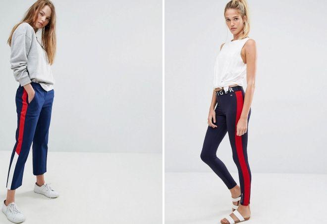 женские брюки с лампасами