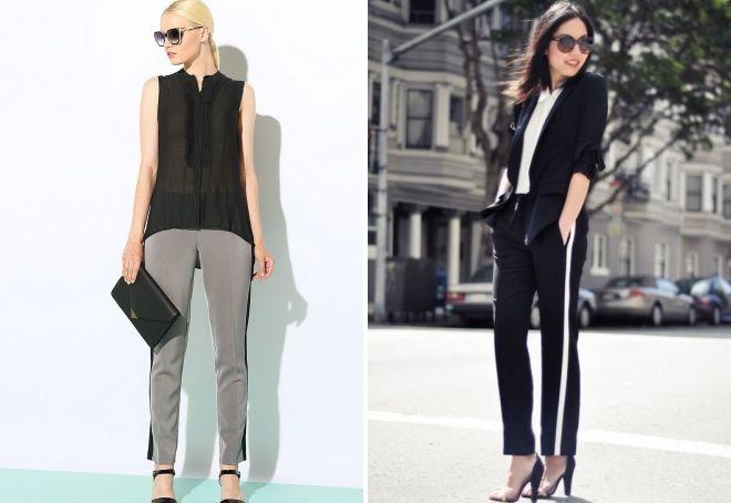 женские классические брюки с лампасами