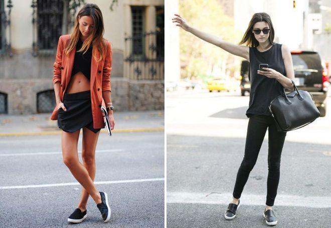 черные слипоны модные образы