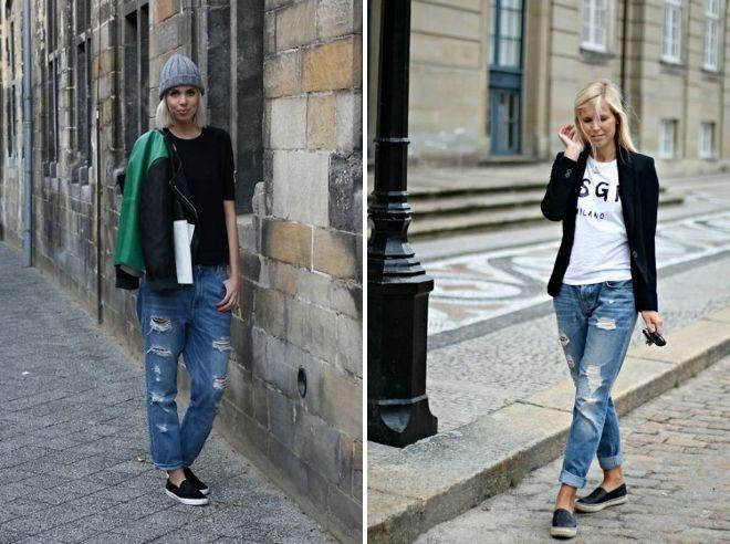 черные слипоны с джинсами
